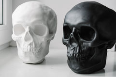 White and black skulls stand on the windowsill. Near the window Stock Photography