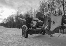 White and black, in the sky stared down barrel of artillery. Barrel anti-tank gun looking at the sky, white and black Royalty Free Stock Image