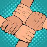 White black solidarity handshake stop racism pop art retro style Royalty Free Stock Photo
