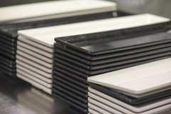 White and black square plates Royalty Free Stock Photos