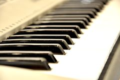 White and black synth keys. White and black synthesizer keys. Background blurred stock images