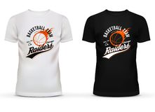 White and black t-shirt with basketball ball and fire trail for chicago raiders team. Limited sportswear edition for. Professional team fans. Good for usage in Stock Photography