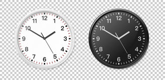 White and black wall office clock icon set. Design template closeup in vector. Mock-up for branding and advertise. White and black wall office clock icon set Royalty Free Stock Images