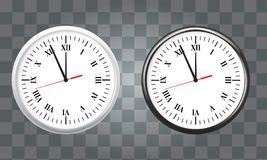 White and black wall office clock icon set. showing five minutes to twelve. For new year concept. Stock Photography