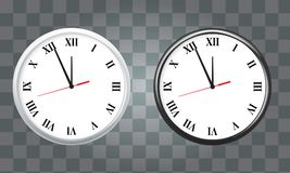 White and black wall office clock icon set. showing five minutes to twelve. For new year concept. Stock Photo
