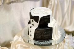 White and black wedding cake Royalty Free Stock Image