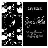 White and black wedding invitation card with hand drawn flowers Stock Photography