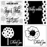 White and black wedding invitation card set with hand drawn poppy flowers Stock Photo