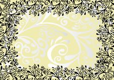 White, black and yellow ornament Stock Images