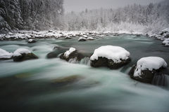 White Blade. A large snowfall hits the Fraser Valley.  Chilliwack River, Chilliwack, BC, Canada Royalty Free Stock Image