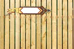 White Blank Arrow Pointer On The Wooden Fence Royalty Free Stock Photos