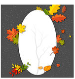 White blank on autumn background with maple leaves. Illustration of White blank on autumn background with maple leaves Royalty Free Stock Image
