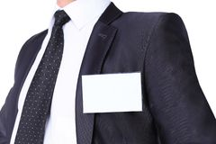 White Blank Badge on mens Stock Images