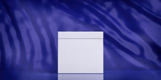 White blank ballot box on blue abstract background, copy space. 3d illustration. Elections concept. White blank ballot box on blue abstract background, copy stock illustration