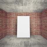 White blank banner in empty room interior with brick walls Stock Photo