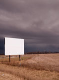 White Blank Billboard Advertising Sign Farm Field Thunder Storm Stock Images