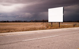 White Blank Billboard Advertising Sign Farm Field Thunder Storm Stock Photography