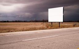 White Blank Billboard Advertising Sign Farm Field Thunder Storm Stock Photography