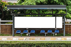 White blank billboard at bus stop Stock Image