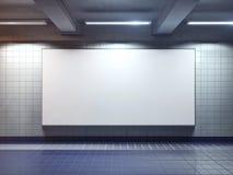 White blank billboard poster indoor. White big horizontal poster on metro station Royalty Free Stock Photo