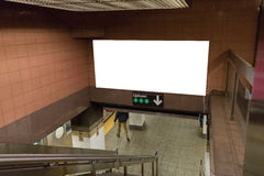 White blank billboards in the subway tunnel. Royalty Free Stock Photos