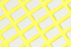 White blank business cards mock-up on yellow background. Corporate stationery template. 3D rendering illustration Stock Image