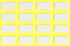 White blank business cards mock-up on yellow background Stock Photo
