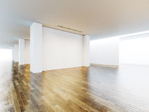 White and blank canvas in museum interior with Royalty Free Stock Photography