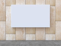 White blank canvas on wood pattern wall with concrete floor background. 3D rendering. White blank canvas on wood pattern wall with concrete floor background for vector illustration