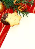 White blank card on christmas composition Stock Image