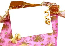 white blank card on Christmas composition Stock Images