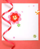 White blank card on red paper Royalty Free Stock Photos