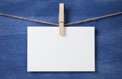 White blank card on rope royalty free stock photos