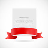 White Blank Card Template with Ribbon. Vector Illustration Stock Photo
