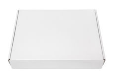 White blank carton pizza box. Closed blank carton pizza box isolated on white with clipping path Stock Photos