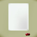 White blank with cherries. White form with attached cherry Royalty Free Stock Photos