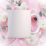 White blank coffee mug ready for your custom design/quote. Mockup Styled Stock Product Image, white mug that you can add your custom design/quote to. Focus on Stock Images