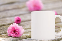 White blank coffee mug ready for your custom design/quote. Royalty Free Stock Photo
