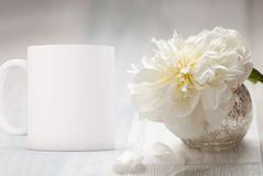 White blank coffee mug ready for your custom design/quote. Mockup Styled Stock Product Image, white mug that you can add your custom design/quote to. Focus on stock photos