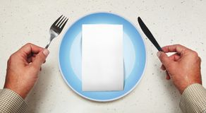 White blank for consumer. Empty white blank for copy space on plate of consumer Stock Photos