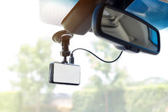 White blank display monitor car video camera. On windscreen Stock Photography