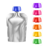 White Blank Doy-pack, Doypack Foil Food Or Drink Bag Packaging With different colored Lids Royalty Free Stock Photo