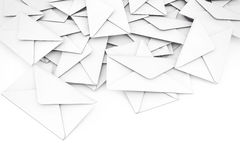 White Blank Envelope Letters Heap. 3d Rendering. White Blank Envelope Letters Heap on a white background. 3d Rendering Royalty Free Stock Image