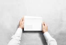 White blank envelope mockup hold in hands. Empty letter with transparent window design mock up. Message template presentation. Person open clear mail Royalty Free Stock Image