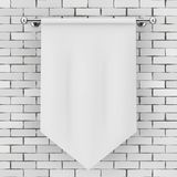 White Blank Fabric Flag Mockup. 3d Rendering. White Blank Fabric Flag Mockup in front of brick wall. 3d Rendering Stock Images