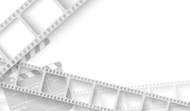 White blank with film strip frame and clapper-board isolated on white background. Design template cinema with space for your text vector illustration