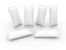 White blank flow wrap packet with clipping path Royalty Free Stock Photography