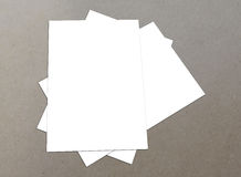 White Blank flyers collection. Blank white paper A4 flyer collection on floor,  flyers Royalty Free Stock Images