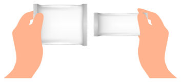 White Blank Foil Packaging in hand. Pack Template Ready For Your Design. Stock Photos