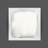 White Blank Foil Pouch Packaging For Medicine Drugs , Coffee, Salt, Sugar, Pepper, Spices, Sachet, Sweets Or Condom.  Mock Stock Photography